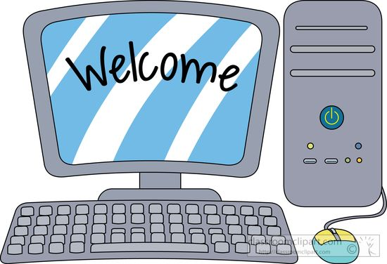 Computers desktopputer with welcome on the screen clipart