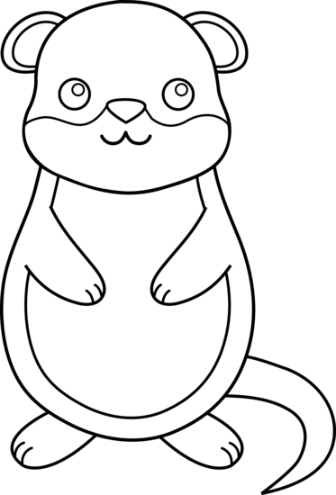 Cute colorable groundhog free clip art
