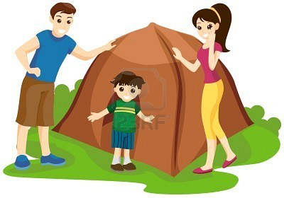 Family camping clipart 2