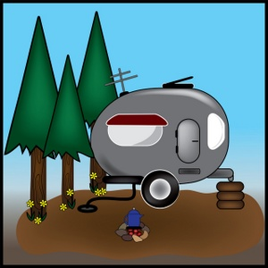Family camping clipart 3