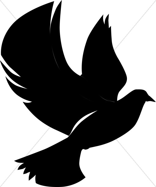 Flying dove in silhouette clipart