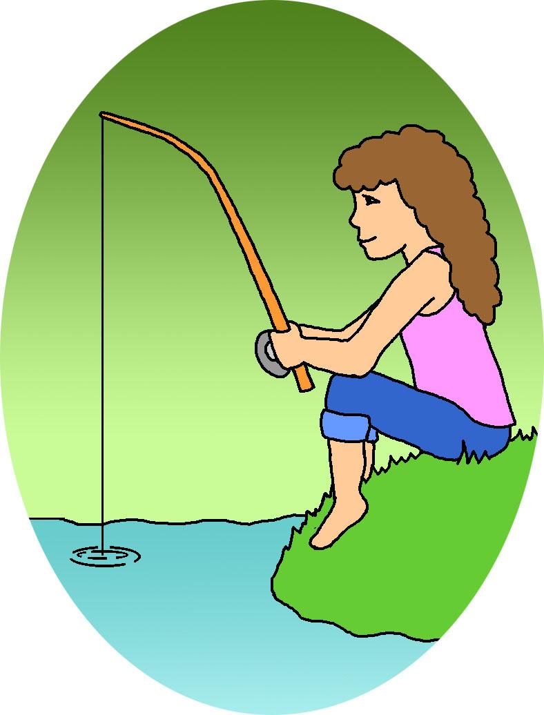 Girl fishing clipart