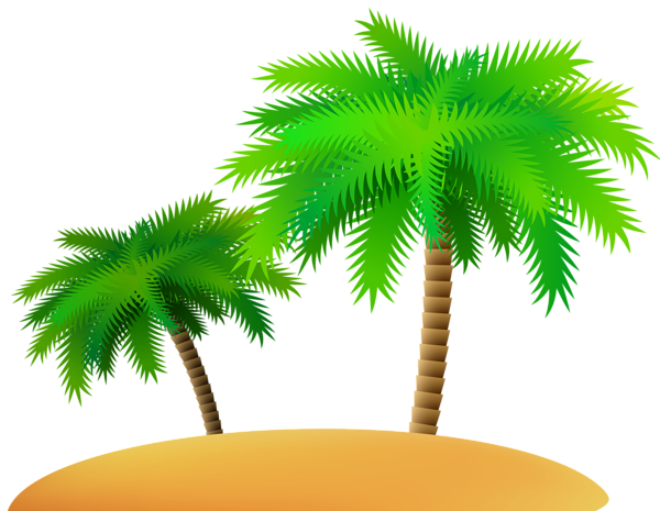 Palms and sand island clip art image
