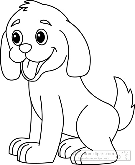 Puppy dog black and white clipart