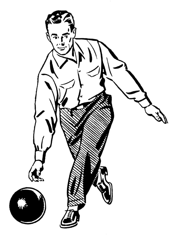 Retro bowling clipart