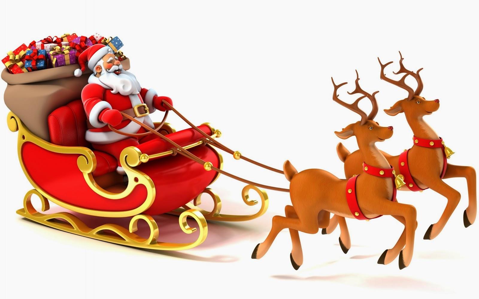 Santa sleigh reindeer clipart clipartfest 2