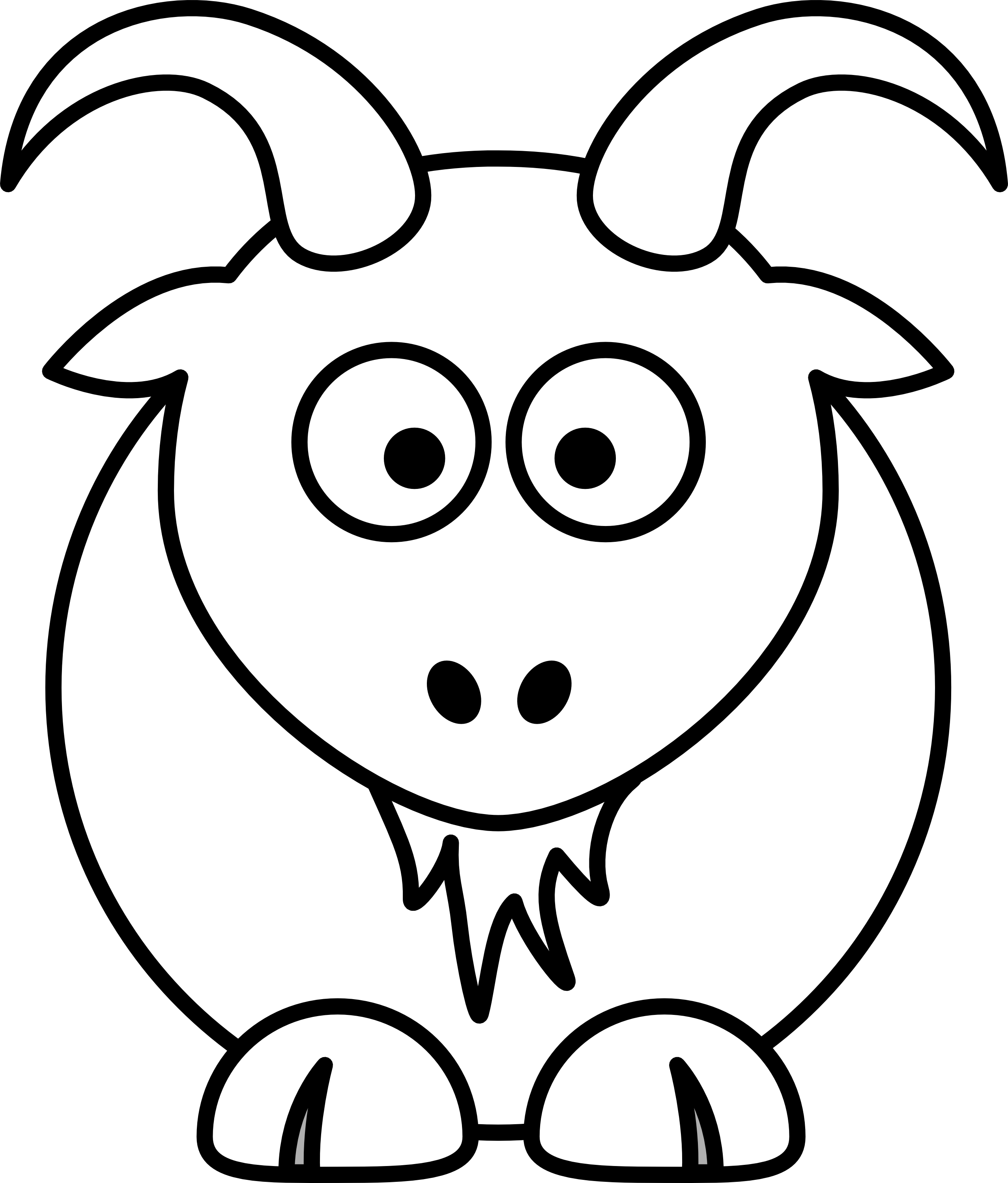 Straight face black and white clipart