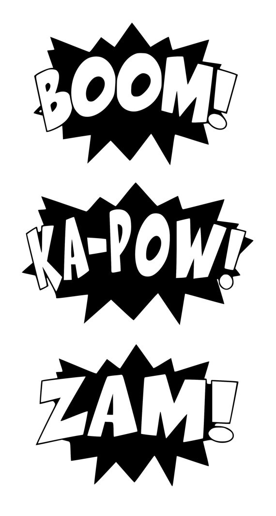 Superhero words black and white clipart