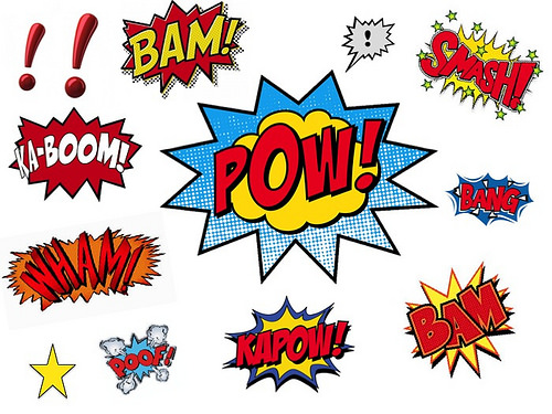 Superhero words clipart 7