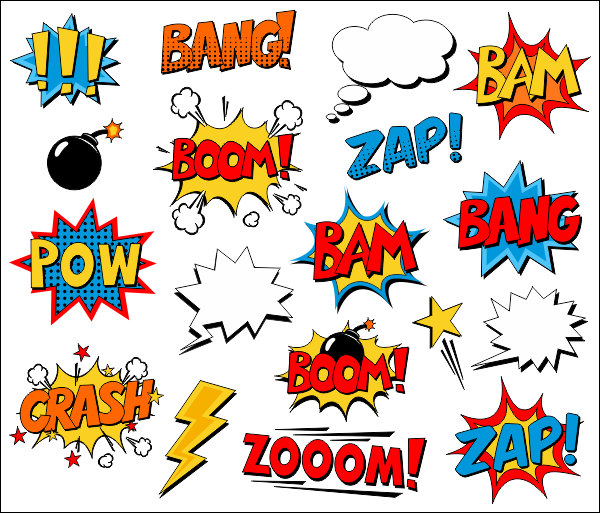 Superhero words comic words clipart