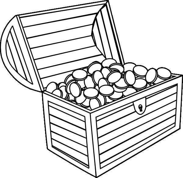 Treasure chest black and white clipart