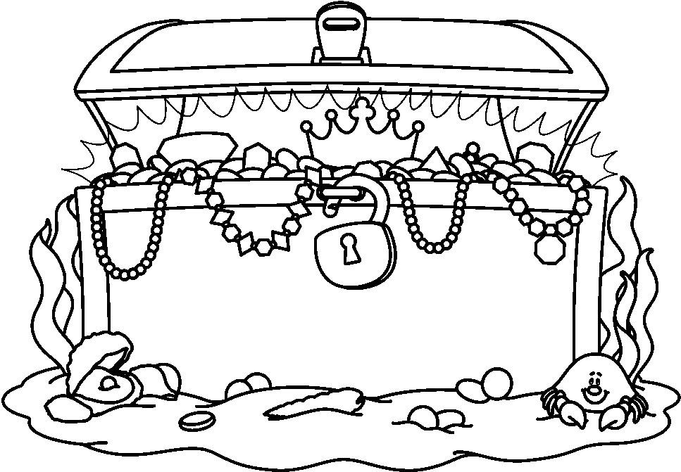 Treasure chest treasure black and white clipart 3
