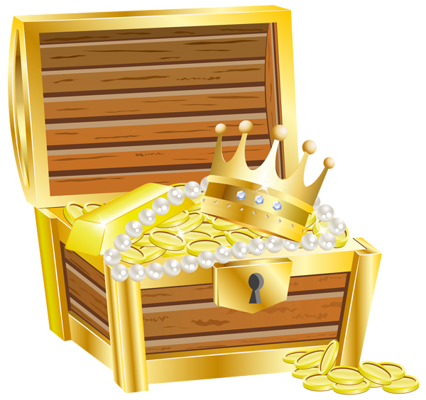 Treasure chest with gold transparent clip art image