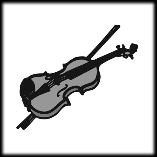 Violin black white clipart 2