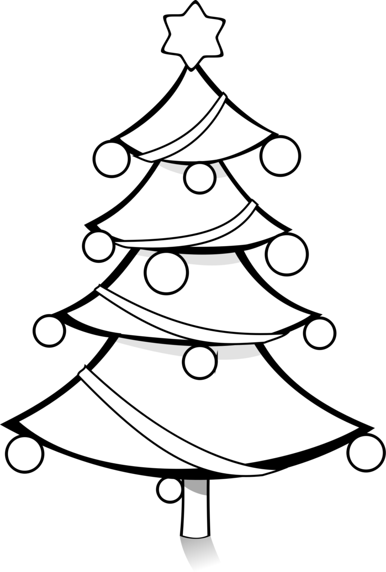 christmas tree clipart black and white