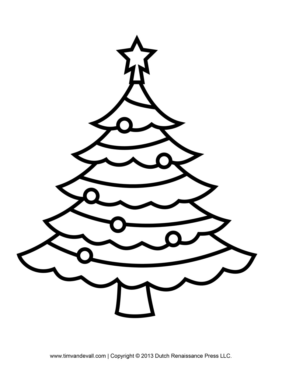 Christmas tree  black and white christmas tree outline on black clipart