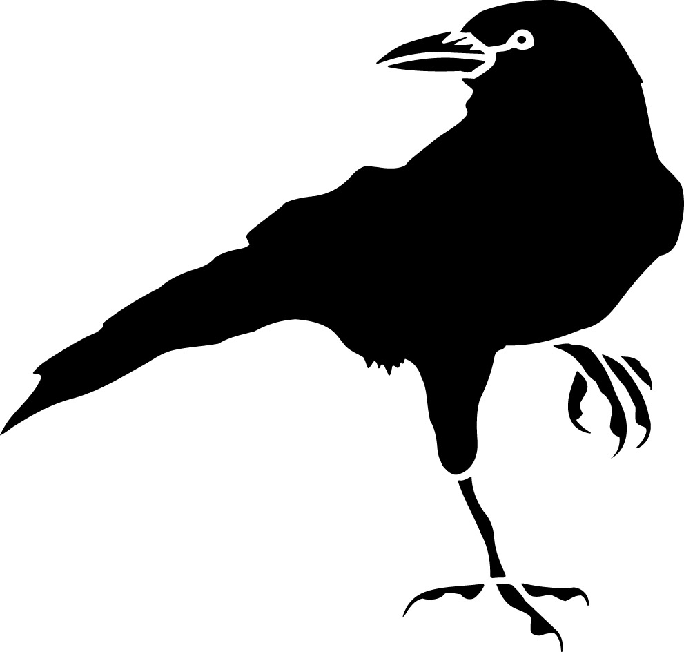 Crow black and white clipart