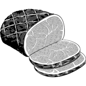 Ham black and white clipart 2