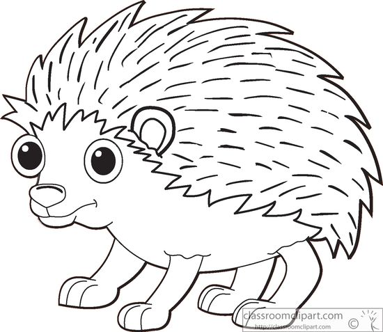 Hedgehog black and white clipart