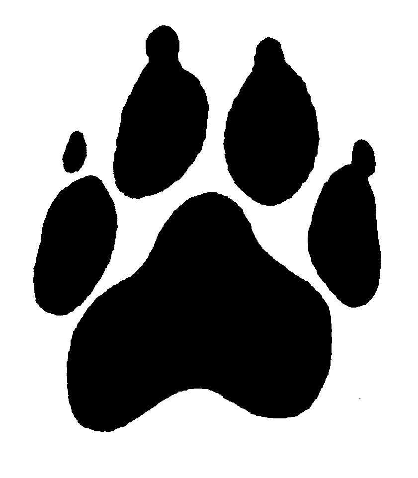 Paw prints panther paw border clipart
