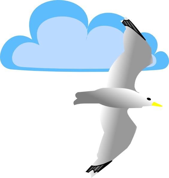 Seagull and cloud clip art at vector clip art