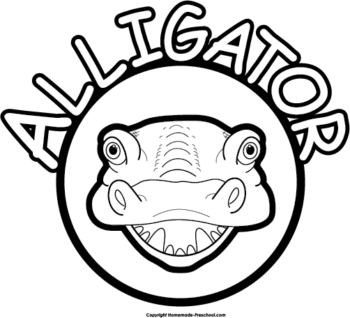 Alligator  black and white alligator clipart
