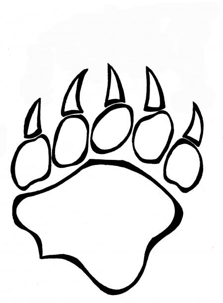 Bear paw paw stencil clipart