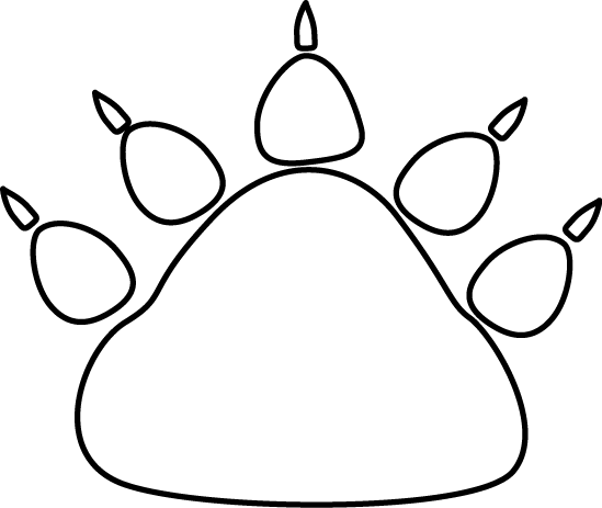 Black and white bear paw print clip art