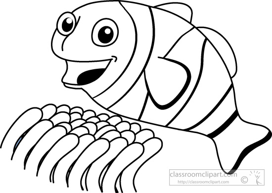 Clownfish animals clown fish marine life black white outline clip art