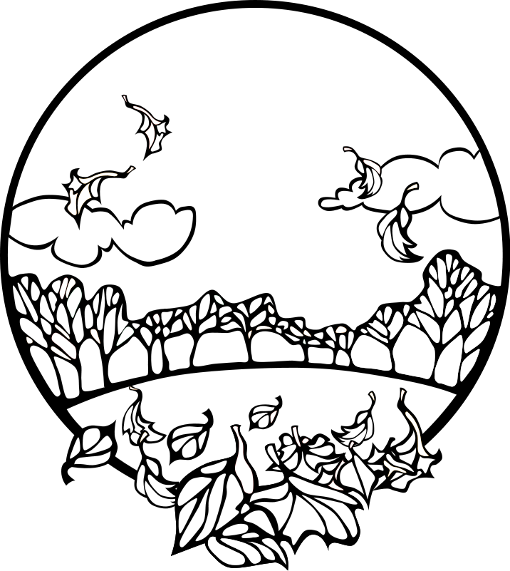 Fall  black and white fall black and white clipart 2