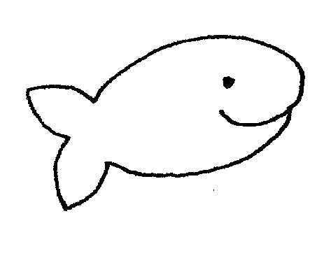 Fish outline fish black and white clipart