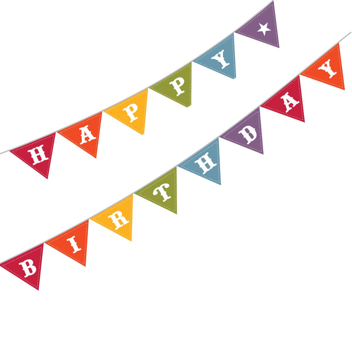 Flag banner birthday banner clipart 2
