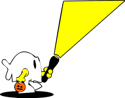 Flashlight image trick or treater halloween clip art