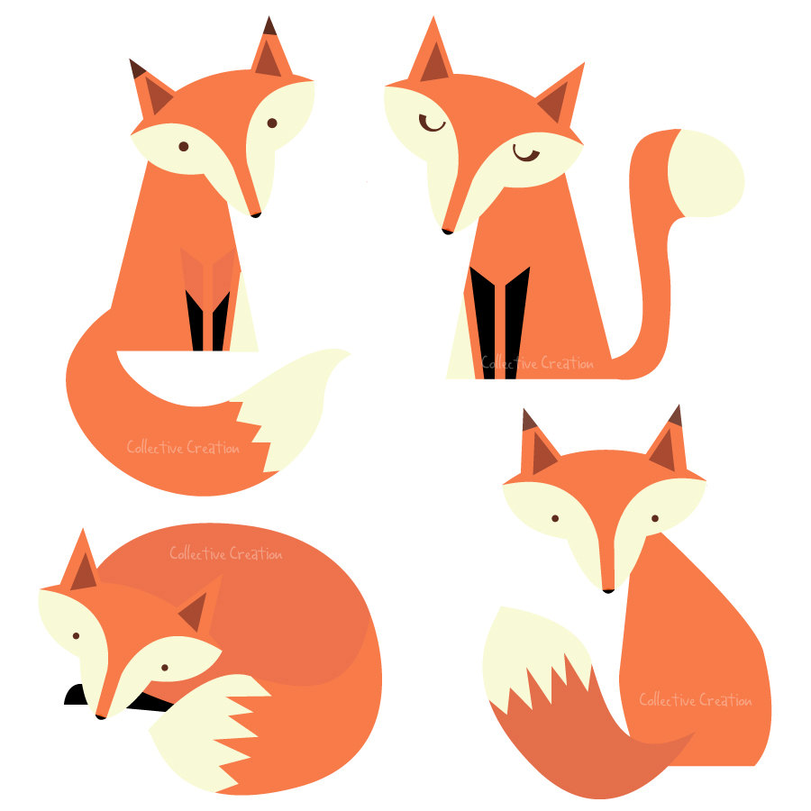 Fox  black and white cute fox black and white clipart 7
