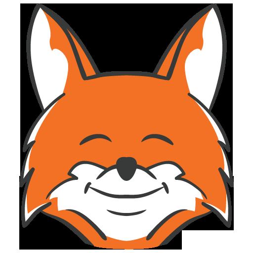 Fox  black and white cute fox clipart