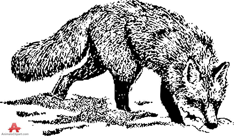 Fox  black and white fox drawing clipart in black and whte free design download