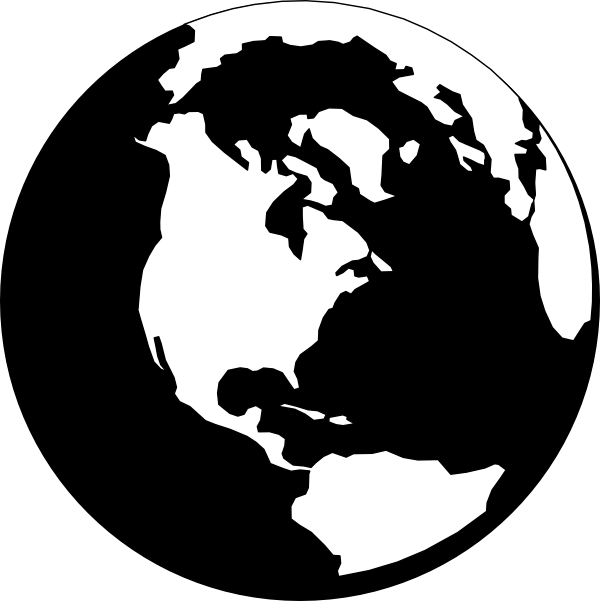 Globe  black and white planet earth black clipart