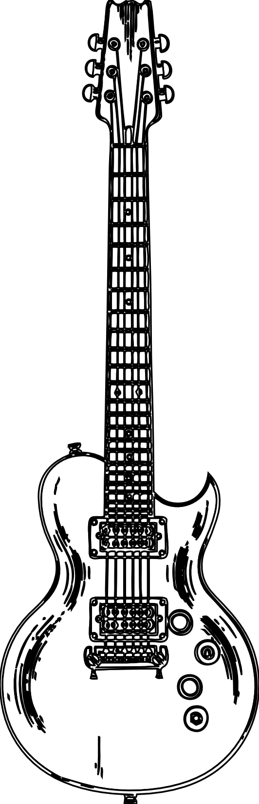 Guitar Black And White Clipart 3