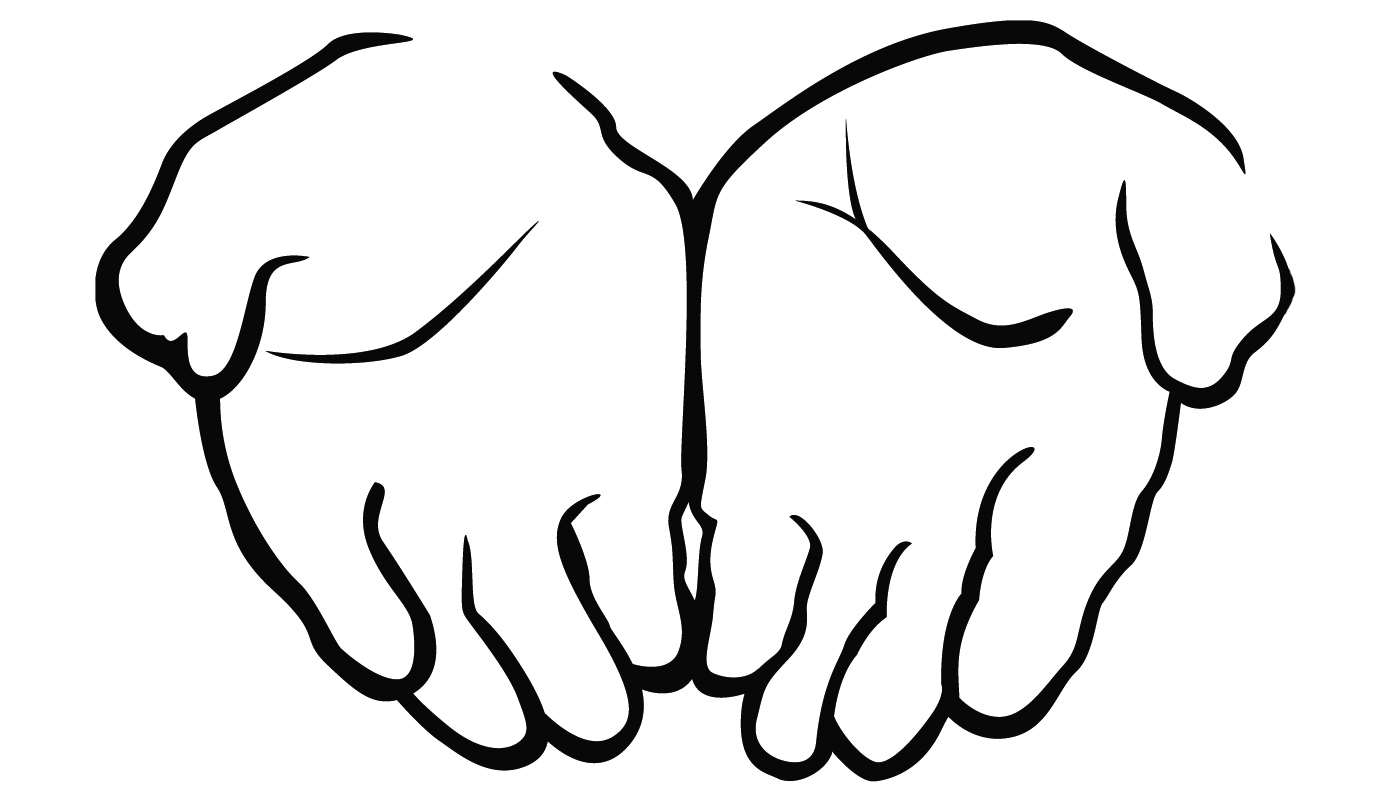 Hand  black and white open hands black and white clipart