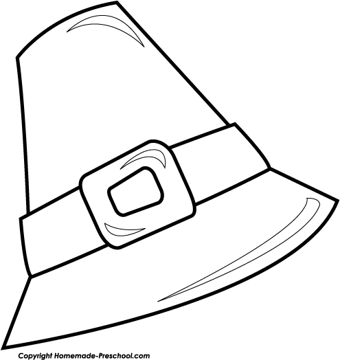 Hat  black and white pilgrim hat clipart black and white clipartfest