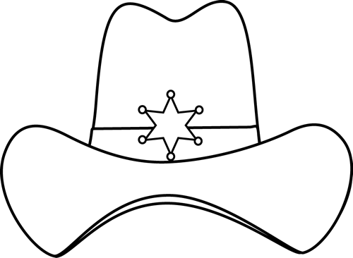 Hat  black and white western hat clipart