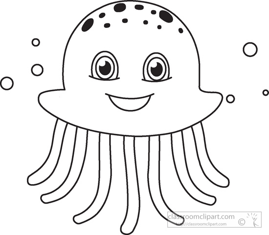 Jelly fish outline clipart 2