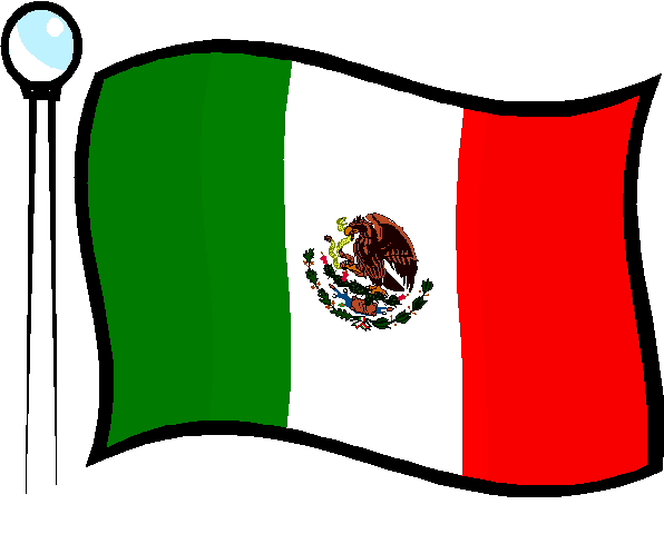 Mexican flag black and white clipart 2