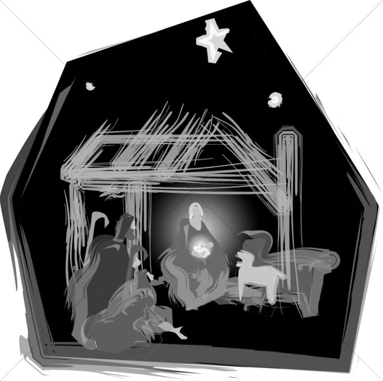 Nativity  black and white black and white nativity scene manger clipart