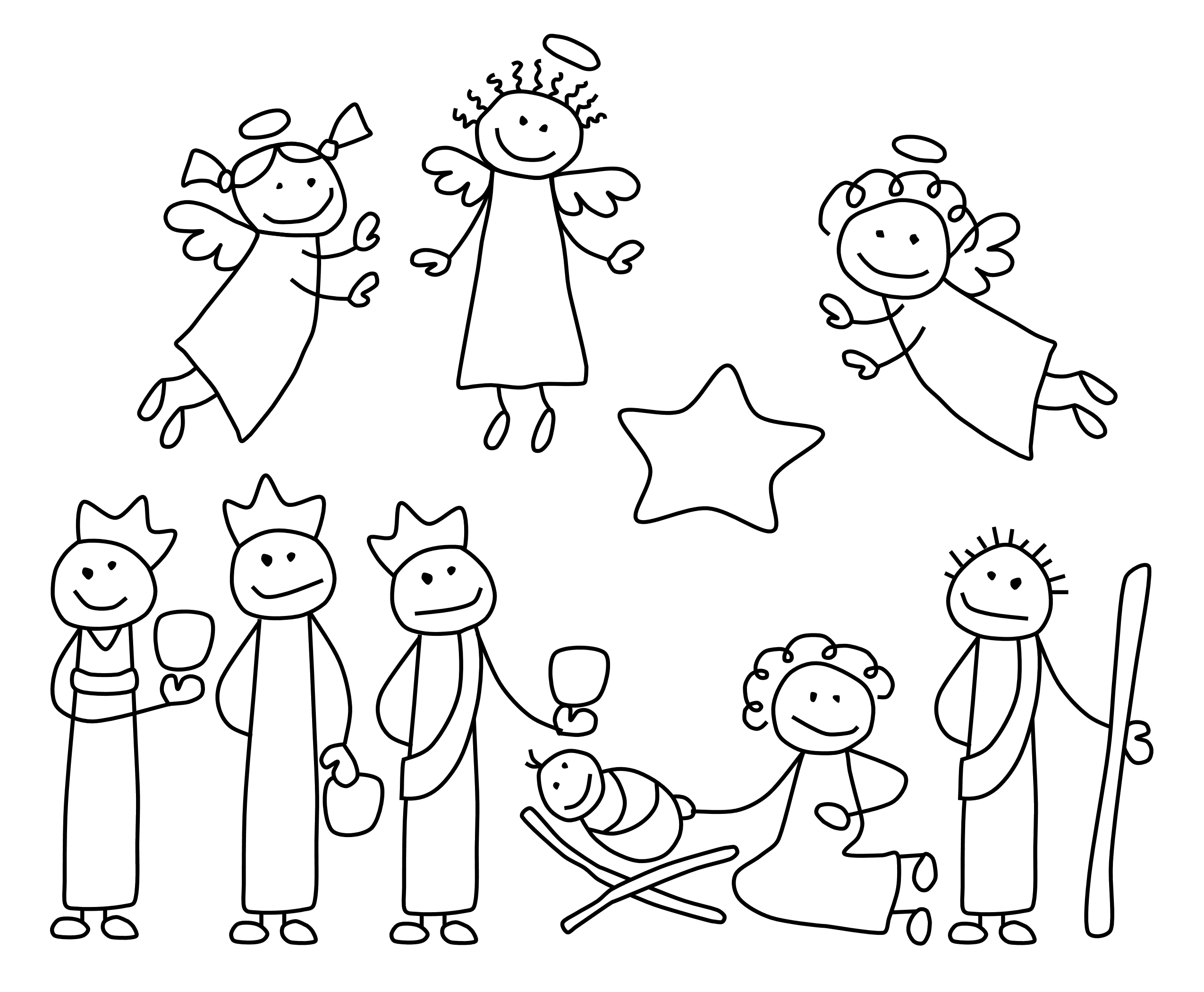 Nativity black and white kids nativity black and white for Nativity animals coloring pages