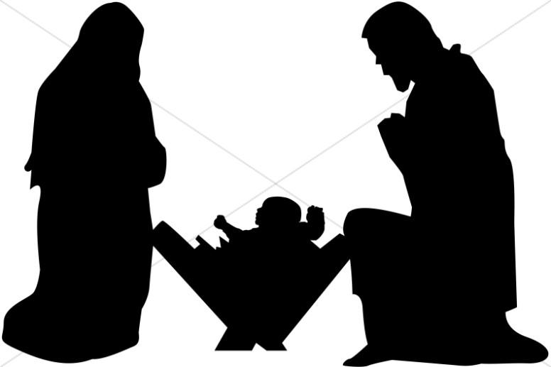 Nativity  black and white nativity clipart clip art graphic image 3
