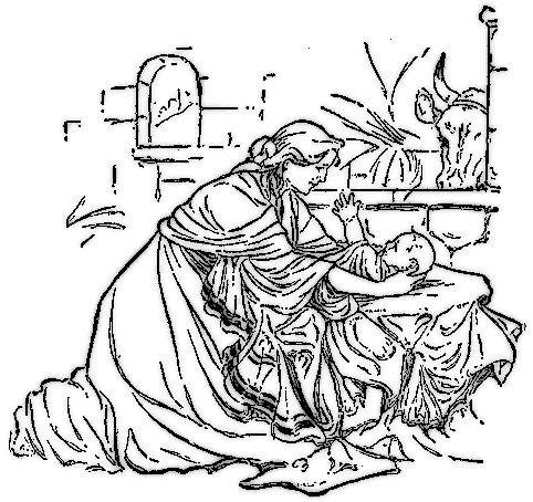 Nativity  black and white nativity clipart image