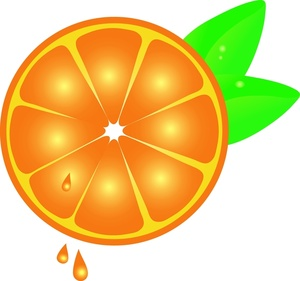 Orange clipart image slice with drops of orange juice