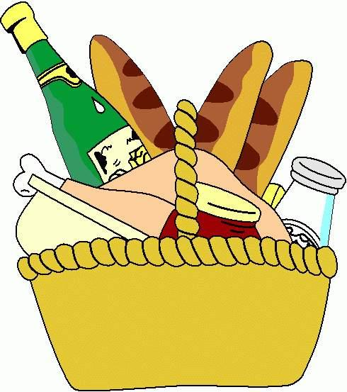Picnic basket basket of food clipart