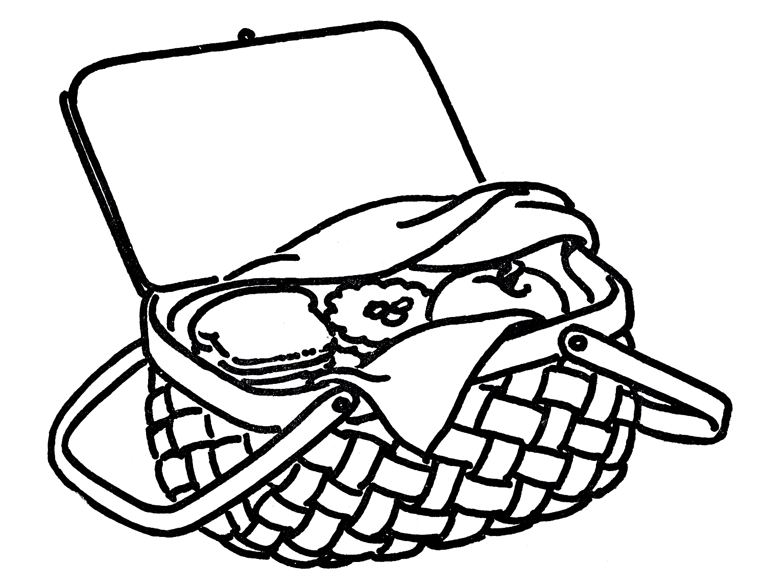 Picnic basket clip art black and white free 5